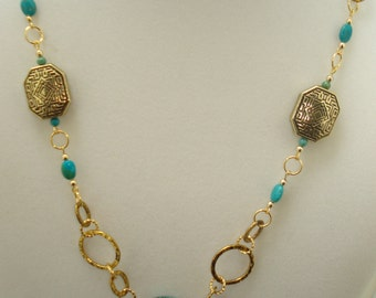 Genuine Turquoise Nugget & Beaded Necklace 24""