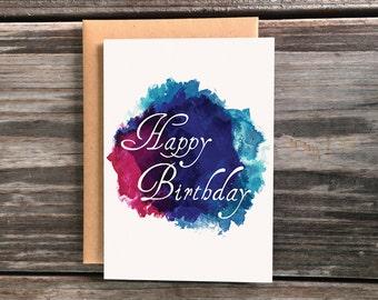 Happy Birthday Greeting Card, Watercolor Art