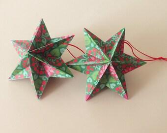 Dominanta Stars - 3D - Christmas Green/red - 2-pack