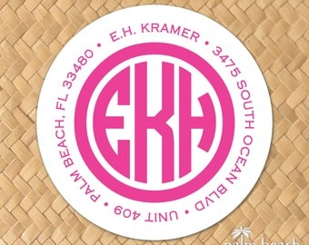 "Perfect Circle Monogram Return Address Labels - 1.5 Inch, 2"", 2.5"" or 3"" Round Stickers - Personalized Envelope Seals - Preppy Monogram"