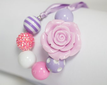 Toddler Necklace - Bubblegum Necklace - Louisa Lilac Necklace - Chunky necklace