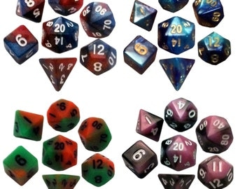 Mini Dice Polyhedral Set:  Mini 10mm. Great for DnD RPG Dungeons and Dragons or Jewelry!