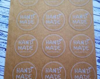 30 Handmade Kraft Stickers