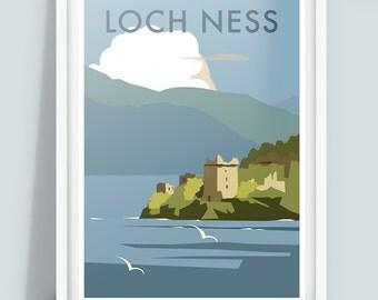 Loch Ness Travel Poster Print, Scotland