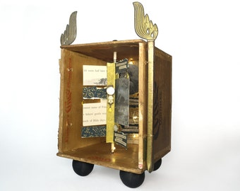 Antique Assemblage Box, Unique Assemblage Art Box, Mixed Media Assemblage with Poetry, Thomas Hardy Poetry Shadowbox