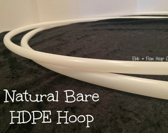 "Natural HDPE NAKED Collapsible Hula Hoop - 3/4"" or 5/8"" - Bare, Sanded, or Gaffer Inner Grip Included"