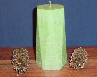 Green feather palm wax pillar hexagon candle