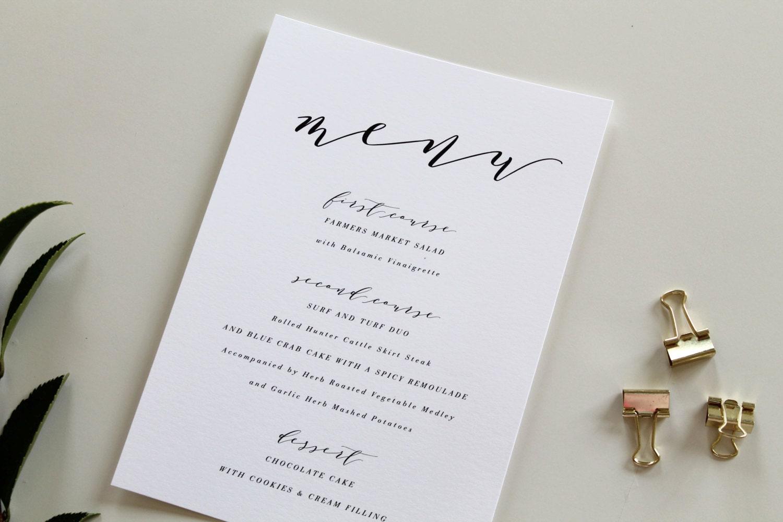 Calligraphy wedding menu calligraphy dinner menu wedding zoom junglespirit Images
