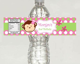 printable Monkey personalized water bottle label Pink and Green