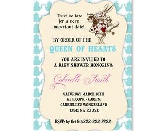 Printable Alice in Wonderland Baby Shower Invitation