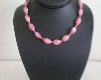 Pink Swirl Glass Beaded Mid Century Necklace