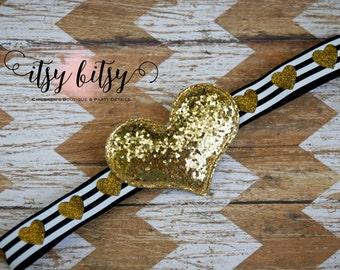 Sequin Heart Headband, Baby Headband, Gold Glitter, Black and Gold, Elastic Headband, Heart Elastic, Hair Accessories, Headbands for Girls