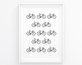 Bicycle Art Print, Bicycle Art, Bike Poster, Bike Decal, Bike Wall Prints, Bike Art, Cycling Art, Bike Artwork, Bike Pattern, Bicycle Decor