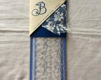 "Vintage New White Lace Trim 1-7/8"" wide x 2-1/2 yards long by Jayholt-Barbizon Corp."