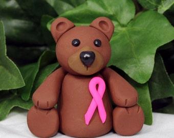 Polymer Clay Bear Sculpture - Cancer awareness sculpture - Breast Cancer Bear - Bear Figurine - Clay Bear Sculpture - Brown Bear Sculpture