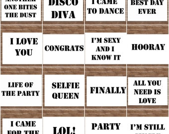 25 A5 Wedding Photo Booth Signs/ Props. Each one holds a different message.