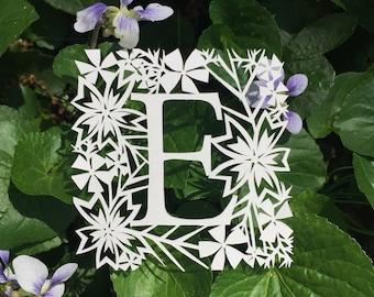 Floral Monogram Original Papercut Art