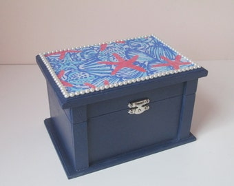 Lilly Pulitzer inspired LARGE JEWELRY BOX wooden girly preppy southern college dorm sorority gift pearls seashells navy pink