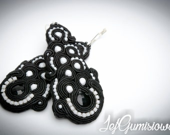 Soutache earrings. Soutache jewelry. Black and white earrings. B&W.  Hand-embroidered soutache earrings. Large soutache earrings.