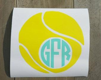 Tennis Ball Monogrammed Decal