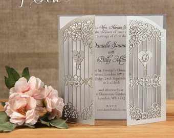 Silver Gatefold Personalised Laser Cut Wedding Invitations