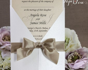 Large Ribbon Seal Simple Wedding Day / Wedding Evening Invitation Multiple Colours Gatefold Personalised Latte