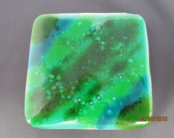 Handmade fused glass coaster