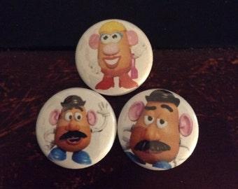 """Mr Potato Head and Ms Potato Head pin Buttons set 1"""""""