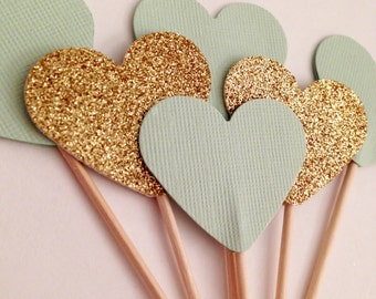 Set of 12 - Mint and gold glitter heart cupcake toppers
