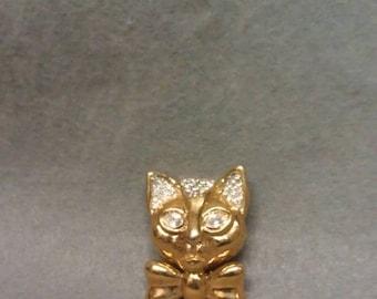 Cat Brooch Gold with Rhinestones