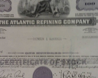 The Atlantic Refining Company 100 Shares Certificate of Stock