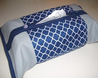 TISSU BOX COVERS - geometric tissue box covers - navy blue & gray tissue box covers - geometric home decor - geometric covers - home decor