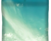 Unique Designer Sky Duvet Cover, Aqua Teal Skies Duvet,King,Queen,Full,Twin,Sizes,Bedroom Decor,Home Interior,Creamy Clouds Comforter Cover