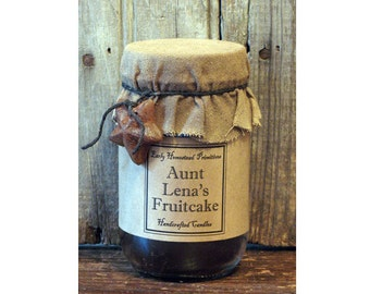Primitive Candle, Christmas Candle, Country Rustic Aunt Lena's Fruitcake Scented Jar Candle