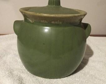 Hull Bean Pot or Cookie Jar Drip Glaze Avacado
