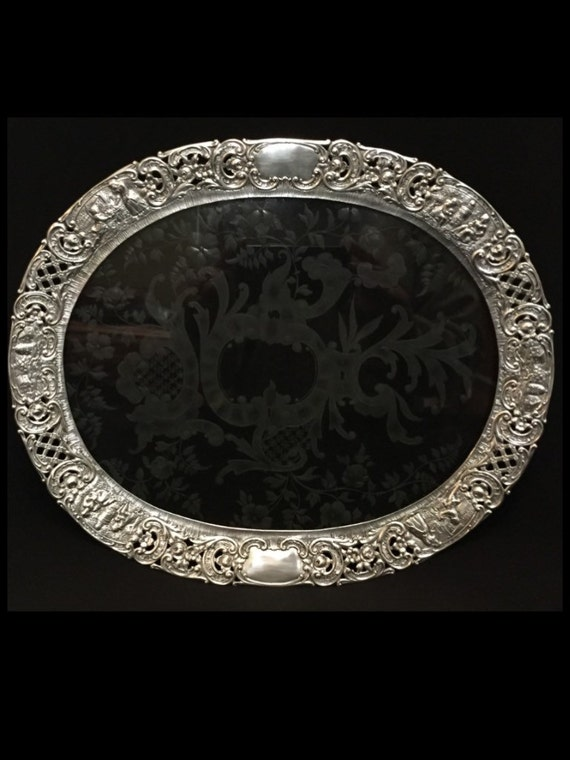 """FREE SHIPPING-Beautiful-Antique-Late 1800's-German-Sterling Silver-Hanau-Georg Roth-Wolf & Knell-13 1/4""""-Decorative-Footed-Tray"""