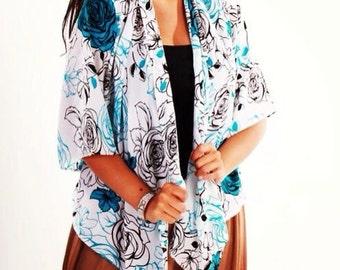Blue Floral Kimono Jacket