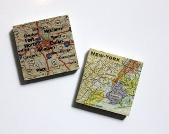 Set of 3 Map Magnets - Your favorite places on wooden magnets!