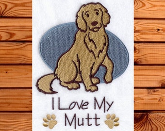 I Love my Mutt Kitchen Towel- Dog Tea Towel- I Love Dogs- I Love Mutts- Gift for the Dog Lover- Dog Kitchen Towel- Custom Embroidery