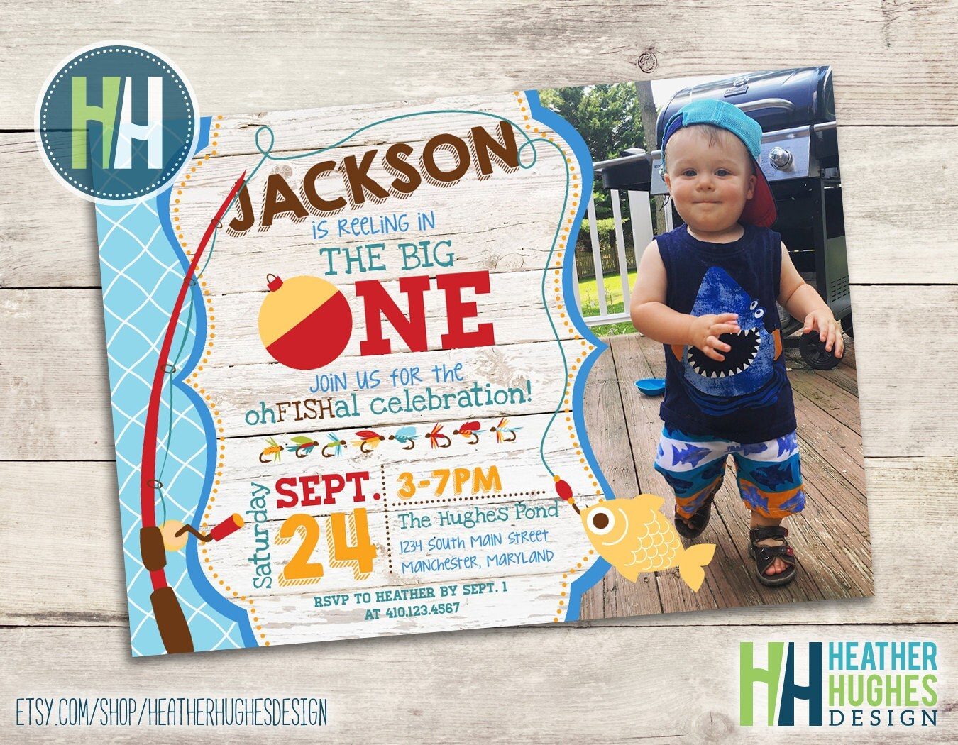 Big one invitation fishing theme birthday invite boy first for First birthday fishing theme
