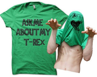 Ask Me About My T-rex Mens Funny T-shirt Awesome Dinosaur Stag Do Men's Joke Costume Top