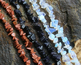 Stone Chips for Jewelry Making, Gold/ Blue Sandstone/ Opal Quartz Chips Beads Supplies (WM68)