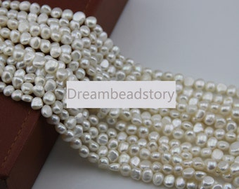 Pearl Promotion, 8-9mm 9-10mm Freedom Potato Pearl Beads, Full Strand White/ Gray Loose Pearl Beads Bulk Wholesale (XMZ32/34)