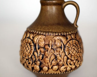 Small brownish vase 1633-15, Jasba, West German Pottery, 70'ties