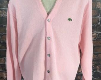 Vintage Izod Lacoste Sweater Pink Cardigan 80's Preppy Mens size XL