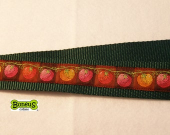 "Tomato's in a Row Jacquard Ribbon Martingale Collar 1.5"" Wide"
