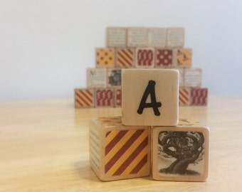 Harry Potter Alphabet Wood Baby Blocks - Hogwarts house colors, real book excerpts, set of 26