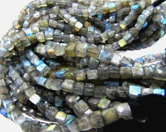 AAA Quality Blue Fire Labradorite 3D Box Beads/ Faceted Cube Beads Size 5to7mm / Sold per Strand of 8 inch long / Natural Labradorite Beads