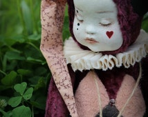Sleepy baby jester artist teddy doll clown jocker dark red marsala burgundy