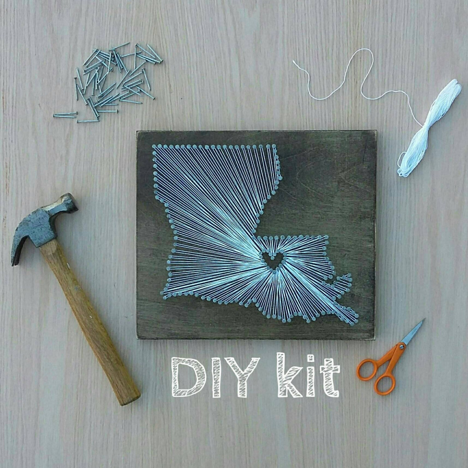 Diy louisiana string art kit state string art kit for Diy nail and string art